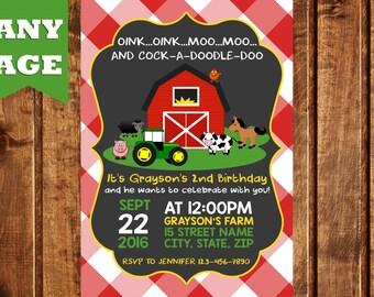 Farm Invitation Farm Animals Birthday Party Invite Farm