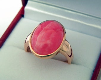 AAAA Rhodocrosite   16x12mm  9.94 Carats   in 14K Rose gold ring, also available in White gold 0701 MMMM