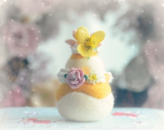 Needle felted cake ornament, Paris pastry religieuse home decor, pansy flower yellow cream cake, fake pastry food miniature, gift under 20