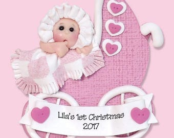 1st Christmas Personalized Baby Girl Ornament - HANDMADE Polymer Clay Ornament - Limited Edition
