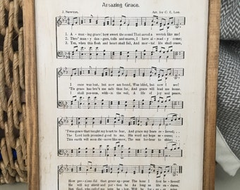 Wood Hymnal Sign | Framed Hymn Music Sheet Wall Hanging | Farmhouse Decor
