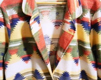 Vintage Fleece Southwestern Blazer / Aztec Tribal Jacket / Soft Boho Blazer