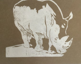 CLEARANCE Space Rhinoceros and Snowman Linoblock Print 5x7