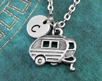 Trailer Necklace, Personalized Necklace, Trailer Pendant, Custom Necklace, RV Charm Necklace, Caravan Jewelry, Camper Necklace, RV Necklace