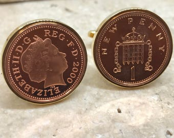 18th birthday 2000  one penny coin cufflinks - GOLD PLATED