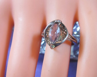 FEBRUARY BIRTHSTONE - Gorgeous Vintage 925 Silver Ring With Amethyst Marquis  - Amethyst Silver Ring