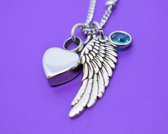 Urn Memorial cremation Jewelry Necklace - Remembrance Necklace - Sympathy Gift - Memorial Necklace - Angel Wing