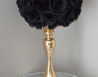 "Black Kissing Ball. Black WEDDING CENTERPIECE. Black Pomander. Black Flower Ball. Flower Girl Bouquet 7"", 8"", 10"", 12"", 14"", 16"", 18"""