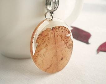Autumn Leaf Pendant #9 - Fall Leaf Necklace - Autumn Jewelry - Real Resin Leaf - Fall Jewelry - Autumn Necklace