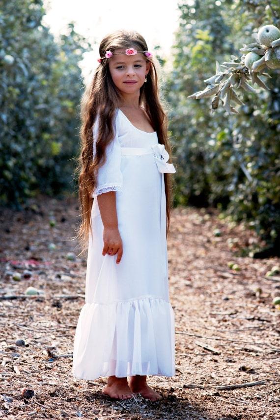 Sale white chiffon 34 bell sleeve flower girl dress mightylinksfo