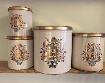 Vintage White Canister Set // Four Piece Nesting Tins// Rose Gold Floral Design // Decoware Decor