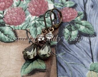Vintage Black Diamond, Crystal Clear Estate Style Earrings