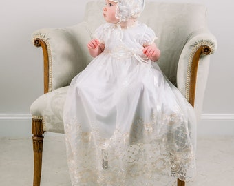 Gwen Christening Gown, Lace Baptism Gowns, Baby Girl Blessing Gown