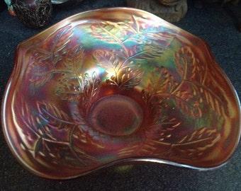 VINTAGE CARNIVAL GLASS Ruffled  Bowl-Floral /Flower  & Leaf Pattern