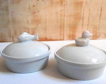 pair of ramekins with ceramic lid France