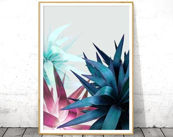 Plant Leaf Wall Art, Digital Download, Boho Gift for Sister, Botanical Poster, Tropical Leaves, Ruby Blue, Printable Art, Living room Decor