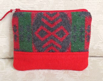 Navajo Pattern and Red Wool Zip Pouch, Small Clutch in Recycled Wool