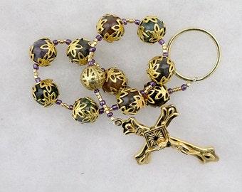 Gold and Jasper Tenner Rosary; Handmade; pocket rosary; single Decade Rosary; Catholic Prayer Beads