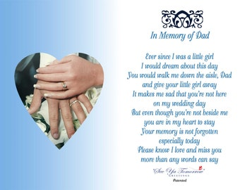 In Memory Of Dad (Wedding) Memorial Card & Holder Set