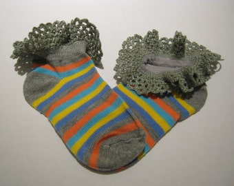 Hand Crocheted Lace edged Anklet's, ankle socks,  Grey anklet with blue, yellow and pumpkin stripe, sock size 4 to 6