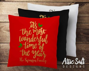 Personalized Christmas Pillow Cover - Cotton Canvas, It's the Most Wonderful Time of the Year
