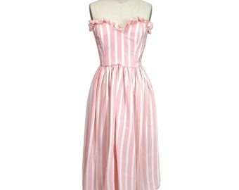 Vintage 1980's Pink and White Silk Stripe Dress Silks by Gillian