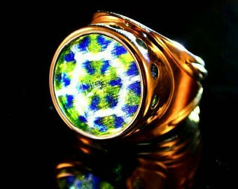 Ring with glass murrine, silver and shibuichi