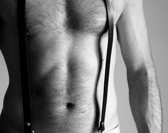 Harness leather suspenders
