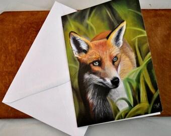 Fox fine art card 7x5 inches featured an original pastel drawing by Clare Abbott, fine art card, fox card, fox greeting card, blank inside