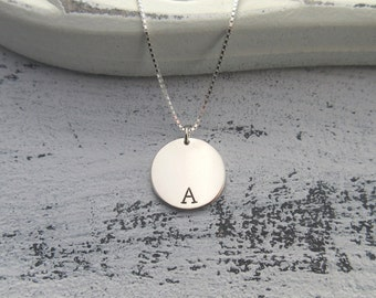 Letter disc necklace etsy personalised sterling silver initial necklace silver circle necklace customised initial necklace monogram necklace aloadofball Images
