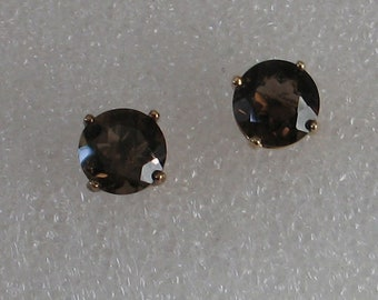 8mm Faceted Round Smoky Quartz Vintage  Gold over Sterling   Post Earrings