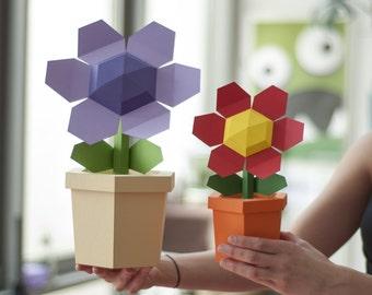 Pot Flower - DIY Papercraft Kit