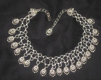 Vintage 60's-'70's Silver Plated Bib Collar Necklace, Teardrop Pendant, Gypsy Belly-Dancer burlesque