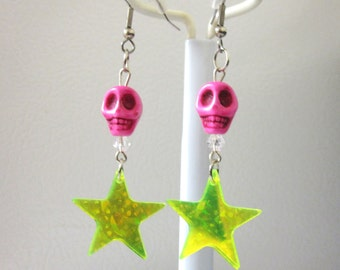 Hot Pink Skull Earrings Day Of The Dead Jewelry Green Star