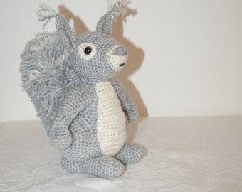 Mr Cyril the grey squirrel crocheted soft toy by Liz