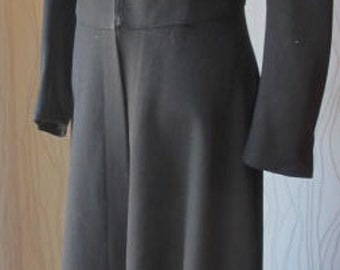 Vintage Long Black Cape Jacket Wool Opera Coat Full Length Very Long