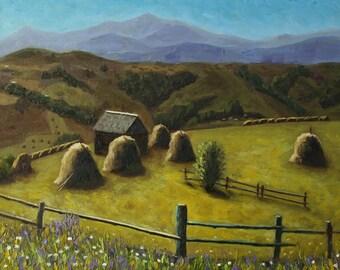 Landscape painting, Landscape Original oil Painting, Original oil painting, Mountain painting, Home decor, Green landscape, Wall art, 30x40