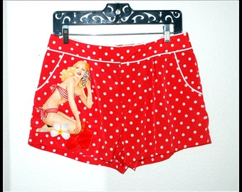 Pin up Girl Shorts in Red and White Polka Dots ....Size L