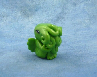 Bright Green Cthulhu Figure - Original Horror Sculpture Inspired by H.P. Lovecraft