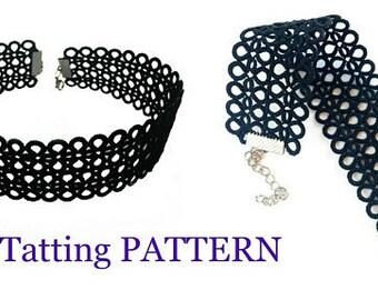 PDF Shuttle Tatting Pattern, Instant Digital Download, Wide choker or bracelet pattern