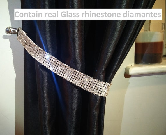 Pair X2 Of Diamante Rhinestone Crystal Tie Backs Curtains