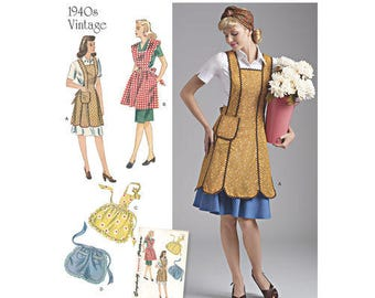 Sewing Pattern for Misses' Vintage Aprons, Simplicity Pattern 8571, New Pattern, Retro, 1940's Style, Four Aprons to Sew