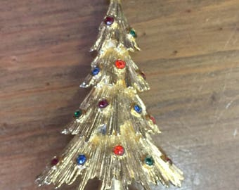 Monet Gold Tone Christmas Tree Pin Brooch