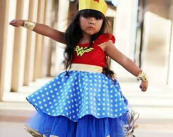 Wonder Woman dress, girls Wonder Woman costume, super hero costume , toddler girls costume, Halloween costume, wonder Woman tutu dress