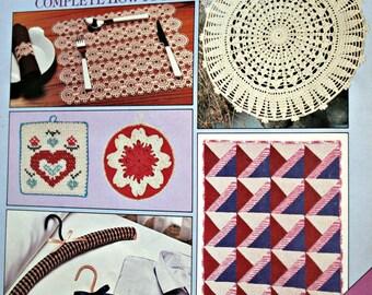 Home Knitting Patterns Crochet Knit & Crochet for the Home Vol 16 April 1984 Afghan Runner Blanket Rug  Vintage Paper Original NOT a PDF