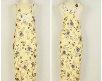 bib overalls long dress light yellow floral 90s vintage sleeveless maxi sundress small