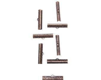 50 pieces  30mm ( 1 3/16 inch ) Antique Copper Ribbon Clamp End Crimps - Artisan Series