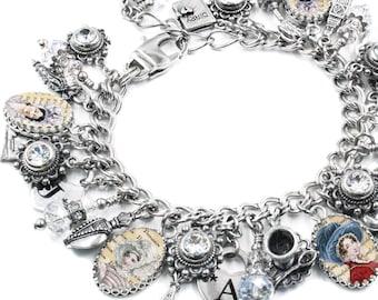 Jane Austen Charm Bracelet, Silver Charm Bracelets, Jane Austen Novels Jewelry