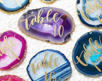 "custom calligraphy table number agate slices | 4"" - 5"" or 5"" - 6"" FREEFORM"