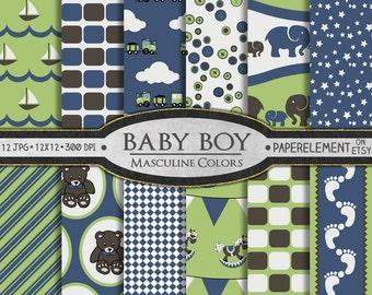 Baby Boy Digital Paper: Baby Boy Scrapbook Paper in Masculine Colors - Baby Digital Paper, Newborn Digital Paper, Baby Background Download
